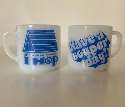 Vintage Pair of IHOP Federal Milk Glass Coffee Mugs White & Blue