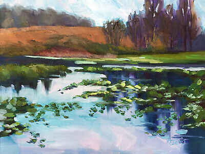 AJeris original oil painting Spring landscape pond water lilies trees sky signed