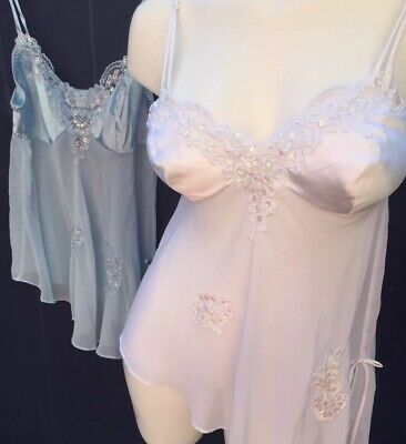 2 Fredrick's of Hollywood Sz M Sheer Chiffon Lace Satin Sexy Chemise Babydoll