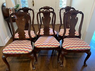 Set of 8 Queen Anne Style Mahogany Dining Chairs