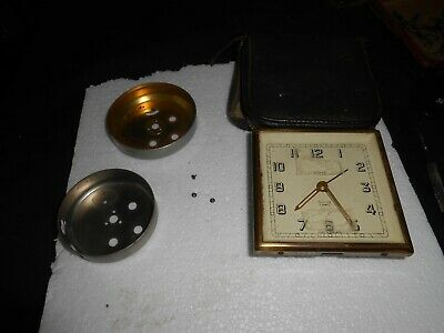 Vintage Smiths 7 Jewels Travel Clock Made In England.balance Ok. Spares /Repair