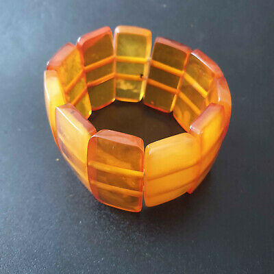 Vintage Armband Bernstein Cognac antik Art Deco Made in Germany Amber 45 Gramm