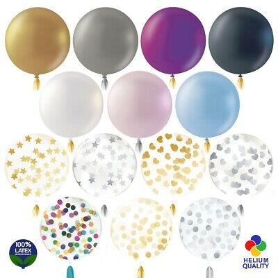 "LARGE LATEX COLOUR/CONFETTI BALLOONS 36"" Party Birthday Wedding Event Helium UK"