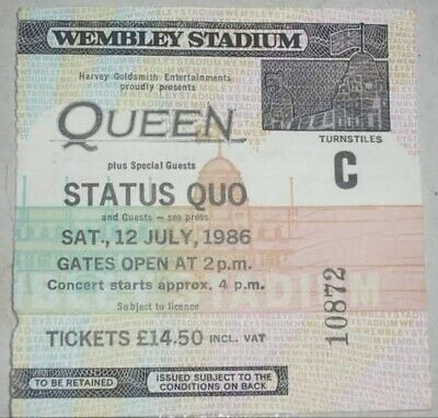 Queen + Status Quo n.10872TC 1986 Wembley Concert Live Ticket Biglietto Perfect