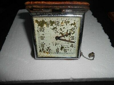 Vintage 8 Day Smiths 7 Jewels Travel Alarm Clock Balance Ok For Spares Or Repair