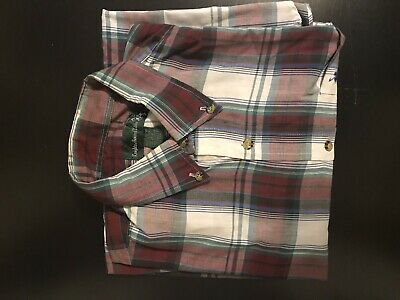 knights of round table men long sleeve plaid button front shirt size L