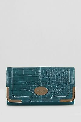 New Laura Jones Croc Panel Large Womens Purse Wallet Blue Large by-Strandbags