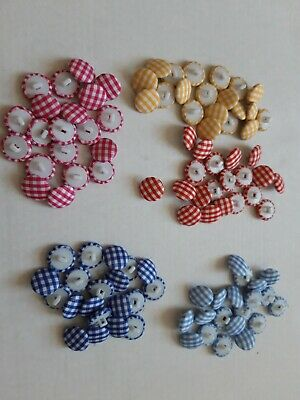 100 x GINGHAM STYLE FABRIC COVERED BUTTONS, SHANK STYLE, 16.5mm dia