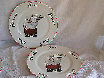 2 Emerald Italian French Chef Cook Waiter Pasta Bowl Dinner Plate Dish CUTE!