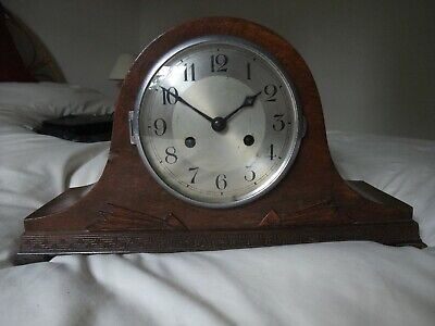 8 day mantle clock, gong strike, complete, needs attention good starter project