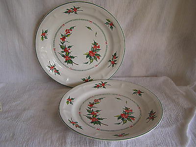 2 Tabletops Unlimited Noel Red Holly Berries Holiday Christmas Dinner Plate Dish