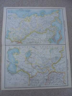 MAP c1900 NORTHERN & CENTRAL ASIA BARTHOLOMEW ATLAS COLOUR LITHOGRAPH