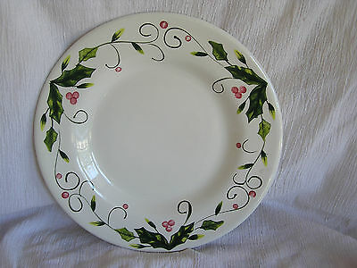 Tabletops Unlimited Holly Berry Handpainted Christmas Dinner Plate Dish RARE!