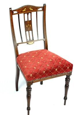 Maple & Co Edwardian Inlaid Mahogany Chair - FREE Shipping [5331]