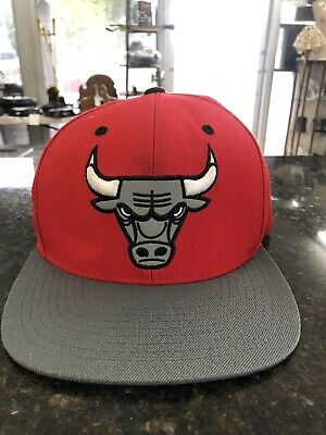 brand new 4a108 902f4 Mitchell   Ness NBA Chicago Bulls Snapback Hat Grey Red 2 Tone Logo Cap