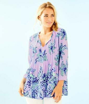 NEW Lilly Pulitzer AUGUSTUS TOP Off the Shoulders Lilac Verbena Purple S L