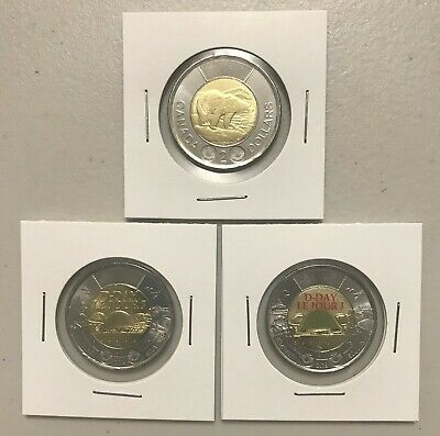 CANADA 2019 New 3 x Toonie Kit Polar Bear / 75th Ann of D-Day (From mint roll)