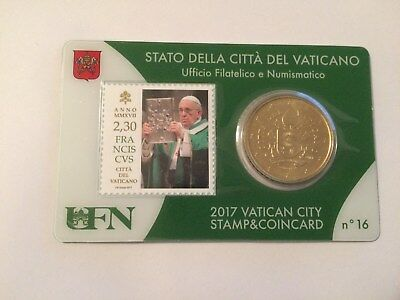 Coincard N°16  Vatican  50 Ct  Nouvelle  Frappe+ Timbre 2,30€  Annee 2017 Neuf