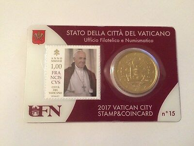 Coincard N°15  Vatican  50 Ct  Nouvelle  Frappe + Timbre 1€  Annee  2017  Neuf