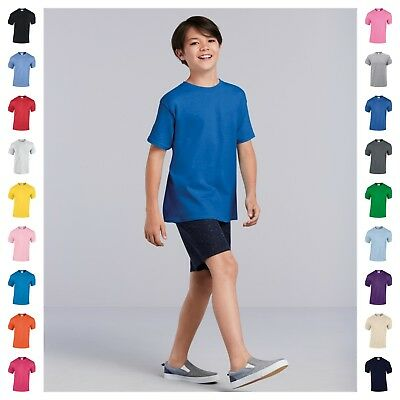 Kids Tshirt Boys Girls Childrens Plain Tee Shirt Short Sleeve Age 6-18 33 Colour