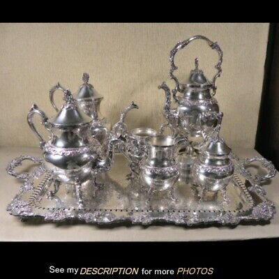 Great Vintage 7pc Silver Plate Coffee / Tea Set with Tray Grape Pattern