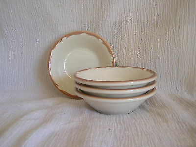 4 Buffalo China Berry Fruit Bowl 903A Brown Scallop Rim Diner Restaurantware