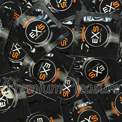 EXS black condoms Coloured Latex Fantasy flared shaped black color Lubricated