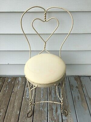Antique Ice Cream Parlor Cafe Chair Twisted Wrought Iron Loop Heart Back Vintage