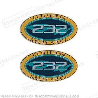 Grady Blanc Gulfstream 232 Logo Stickers (Set Of 2) - Décalque Reproductions en