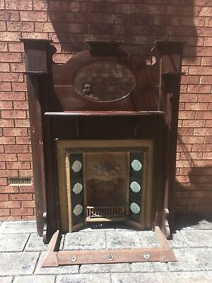 Fireplace Surround & Timber Stand Edwardian Victorian Antique Vintage Cast Iron