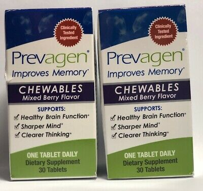 2 Prevagen Regular Chewable Mixed Berry 30 Tablets 60 ct Sealed In Box Or No Box