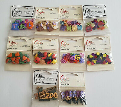 Dress it Up Dress Time Buttons Craftime x10 sealed packets shaped kids button
