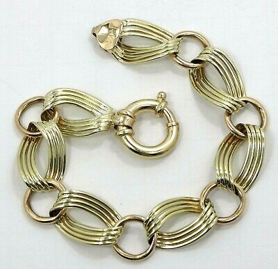 14K Yellow Gold Oval & Round Link Chain Bracelet 8inch 13mm 32g S796