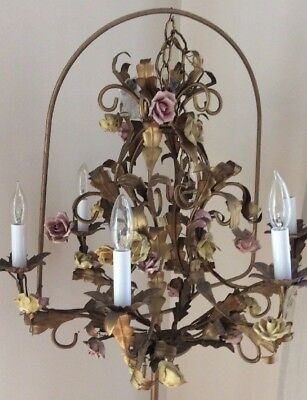 Gold Tole Chandelier Porcelain Roses Mid Century Vintage Hollywood Regency