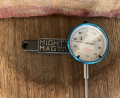 "Mighty Mag + 0-1"" Dial Indicator Combo Set Inspection Holder Magnetic Base Kit"