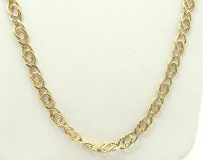 Very Nice 14K Yellow Gold Figure Eight Curb Style Chain Necklace 18 Inch A6881
