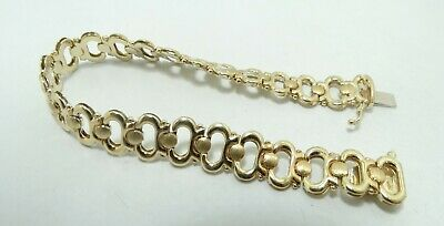 """14K Yellow Gold Italian 11.1mm Oval Link Round Brushed Bracelet 7"""" 14.7g D8673"""
