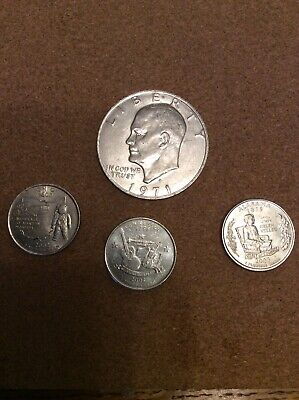 1971 USA 1 Dollar Coin + 3 Quarter Dollars