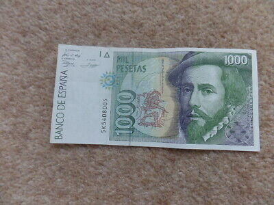 Rare Collection 1992 Spain 1000 Pesetas Banknote  Very Good Condition.