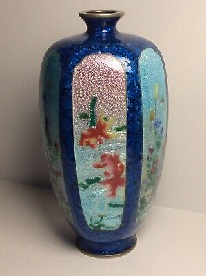 Antique 19/20th Century Japanese Ginbari Cloisonne  6 Sided Vase SEE PICS signed