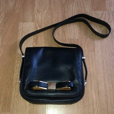 f47dc66682c Ted Baker Black Leather Shoulder Bag Purse Flap Bow Accent