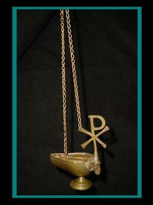 ANTIQUE Bronze ROMAN BYZANTINE Hanging OIL LAMP with Chi Rho XP Symbol with Lamb