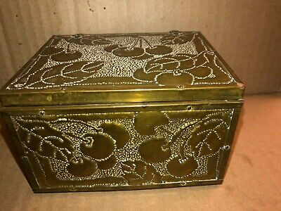 Vintage Cherry Embossed  Brass Over Wood Trinket Cigarette Box