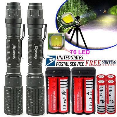 2* Tactical T6 LED Flashlight 90000LM 5Mode Zoomable Torch 18650 Battery Charger