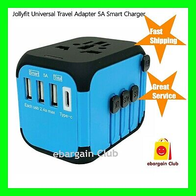 JOLLYFIT Universal Travel Adapter 5A Smart Charger Blue Type-C & 3 USB Port eBC