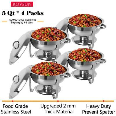 4 PACK Deluxe 5 Qt Stainless Steel Round Chafer Chafing Dish Set Best Price