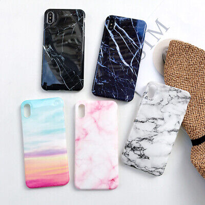 Pastel Marble Pattern Cover Case Soft Shockproof For iPhone 6 7Plus 8 X XR XSMax