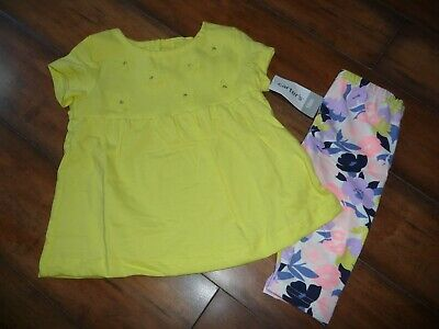 6eaba30cc3fc1 NEW NWT Carters Baby Girls Floral Embellished Leggings Set size 18 months