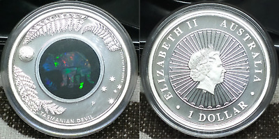 2014 Opal Series - Tasmanian Devil - 1 oz 999 silver proof coin with opal insert