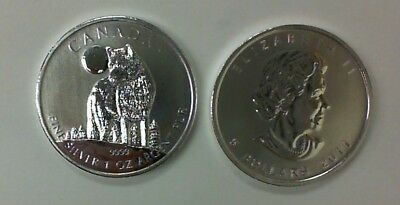 2011 Silver Canada Timber Wolf / Moon .9999 Silver 1 Ounce Wildlife Series